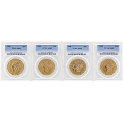 Lot of (4) 1900 $20 Liberty Head Double Eagle Gold Coins PCGS MS62