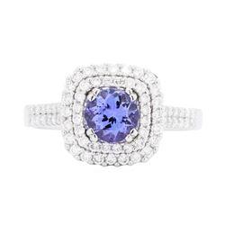 18KT White Gold 1.16 ctw Tanzanite and Diamond Ring