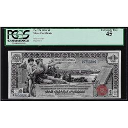 1896 $1 Educational Silver Certificate Note Fr.224 PCGS Extremely Fine 45