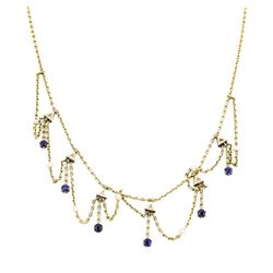 Gold Plated 1.50 ctw Sapphire and Pearl Necklace