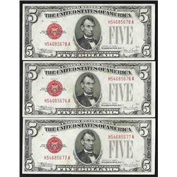 Lot of (3) Consecutive 1928E $5 Legal Tender Notes