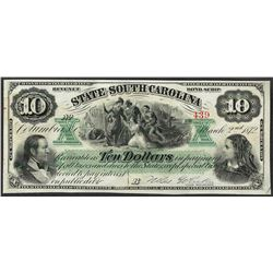 1872 $10 State of South Carolina Obsolete Bank Note