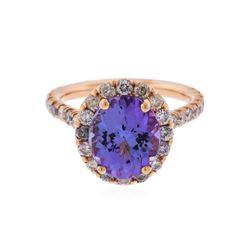 14K Rose Gold 4.36 ctw Tanzanite and Diamond Ring