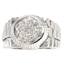 14KT White Gold 0.62 ctw Men's Round Brilliant Cut Diamond Ring