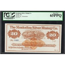 1870's $20 Manhattan Silver Mining Co. Obsolete Note PCGS Gem New 65PPQ
