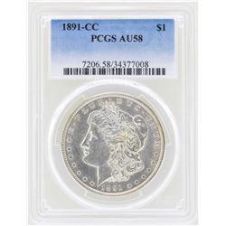 1891-CC $1 Morgan Silver Dollar Coin PCGS AU58