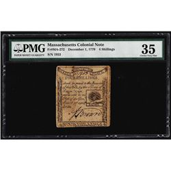 December 1, 1779 Massachusetts 4 Shillings Colonial Note PMG Choice Very Fine 35