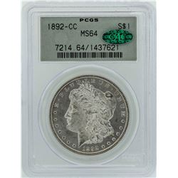 1892-CC $1 Morgan Silver Dollar Coin PCGS MS64 CAC