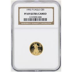 1992P $5 American Gold Eagle Coin NGC PF69 Ultra Cameo
