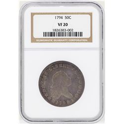 1794 Flowing Hair Half Dollar Coin NGC VF20