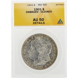 1901 $1 Morgan Silver Dollar Coin Damaged Cleaned ANACS AU50 Details