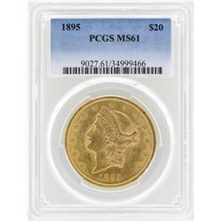 1895 $20 Liberty Head Double Eagle Gold Coin PCGS MS61
