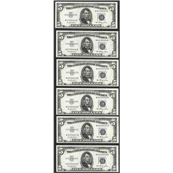 Lot of (6) Consecutive 1953 $5 Silver Certificate Notes