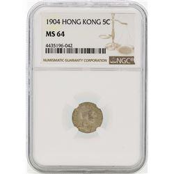 1904 Hong Kong 5 Cents Silver Coin NGC MS64