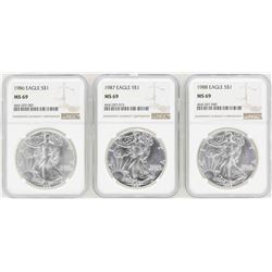 Lot of 1986-1988 $1 American Silver Eagle Coins NGC MS69