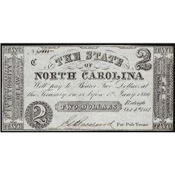 1866 $2 State of North Carolina Obsolete Note