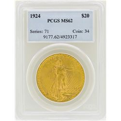 1924 $20 St. Gaudens Double Eagle Gold Coin PCGS MS62