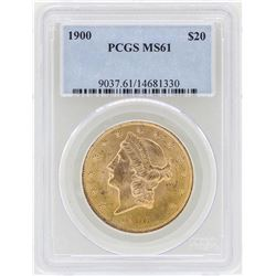 1900 $20 Liberty Head Double Eagle Gold Coin PCGS MS61