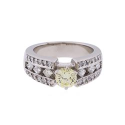 14KT White Gold 1.30 ctw Fancy Light Yellow and White Diamond Engagement Ring