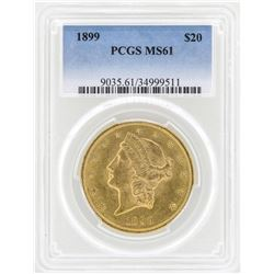 1899 $20 Liberty Head Double Eagle Gold Coin PCGS MS61