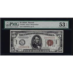 1934A $5 Hawaii Federal Reserve Note WWII Emergency Note PMG About Uncirculated
