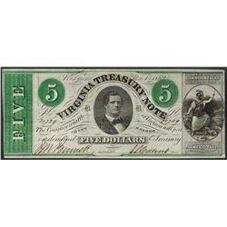 1862 $5 Virginia Treasury Obsolete Note