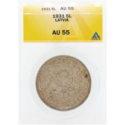 1931 Pieci 5 Lativia Coin ANACS AU55