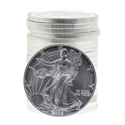 Roll of (20) 2002 $1 American Silver Eagle Brilliant Uncirculated Coins