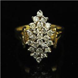 14KT Yellow Gold 0.80 ctw Marquise Design Diamond Ring