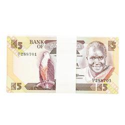 Pack of (100) Zambia 5 Kawacha Uncirculated Notes