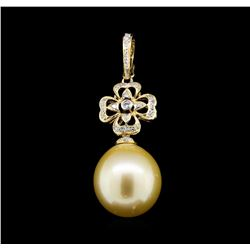 14KT Yellow Gold Pearl and Diamond Pendant