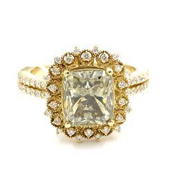 14KT Yellow Gold 3.98 ctw Natural Fancy Green Diamond Engagement Anniversary Rin