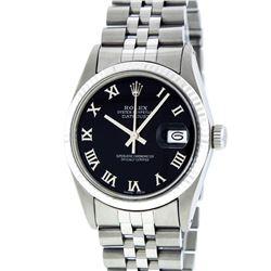 Rolex Mens Stainless Steel Black Roman Datejust Wristwatch