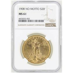 1908 No Motto $20 St. Gaudens Double Eagle Gold Coin NGC MS61