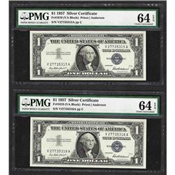 Lot of (2) Consecutive 1957 $1 Silver Certificate Notes PMG Choice Uncirculated