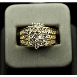 14KT Yellow Gold 2.05 ctw Marquise Design Diamond Round Cut Ring