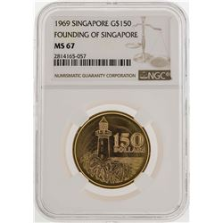 1969 Singapore $150 Founding of Singapore Gold Coin NGC MS67