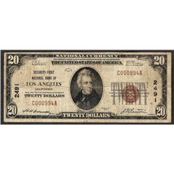 1929 $20 Los Angeles California National Currency Note CH# 2491