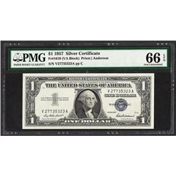 1957 $1 Silver Certificate Note Fr.1619 PMG Gem Uncirculated 66EPQ