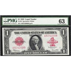 1923 $1 Legal Tender Note Fr.40 PMG Choice Uncirculated 63