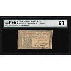 March 25, 1776 New Jersey 1 Shillings Colonial Note PMG Choice Uncirculated 63EP