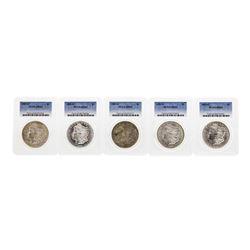 Lot of (5) 1885-O $1 Morgan Silver Dollar Coins PCGS MS63