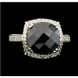 14KT White Gold 5.00 ctw Black Onyx and Diamond Ring
