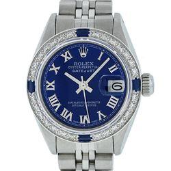 Rolex Ladies Stainless Steel Blue Roman Diamond and Sapphire Datejust Wristwatch