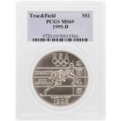 1995-D $1 Track & Field Olympic Commemorative Silver Dollar Coin PCGS MS69