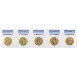 Lot of (5) 1900 $20 Liberty Head Double Eagle Gold Coins PCGS MS62