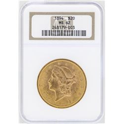 1894 $20 Liberty Head Double Eagle Gold Coin NGC MS62