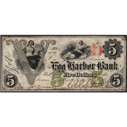 1861 $5 The Egg Harbor Bank Obsolete Note
