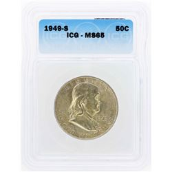 1949-S Franklin Half Dollar Coin ICG MS65