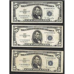 Lot of (3) 1953 $5 Silver Certificate Notes